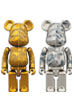 超合金 BAPE(R) CAMO SHARK BE@RBRICK GOLD/SILVER