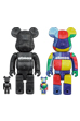 BE@RBRICK atmos BANDANA 100% & 400% BLACK/MULTI